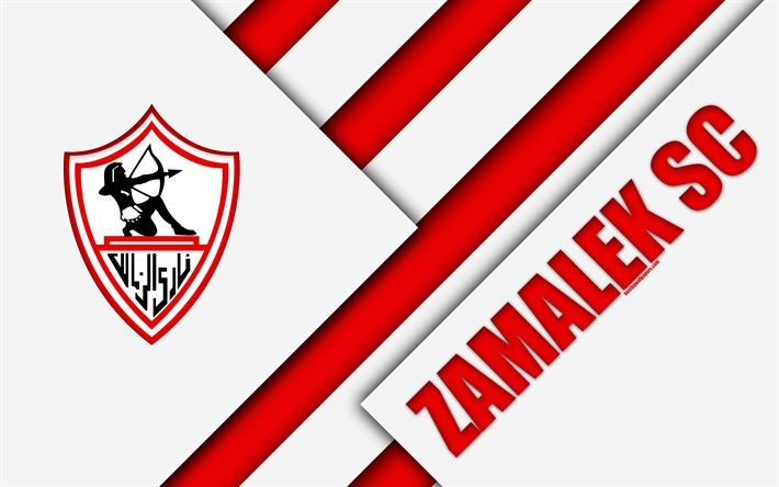 Download wallpapers Zamalek SC, Egyptian football club, 4k, logo, material design, white red abstraction, Cairo, Egypt, football, Etisalat Egyptian Premier League