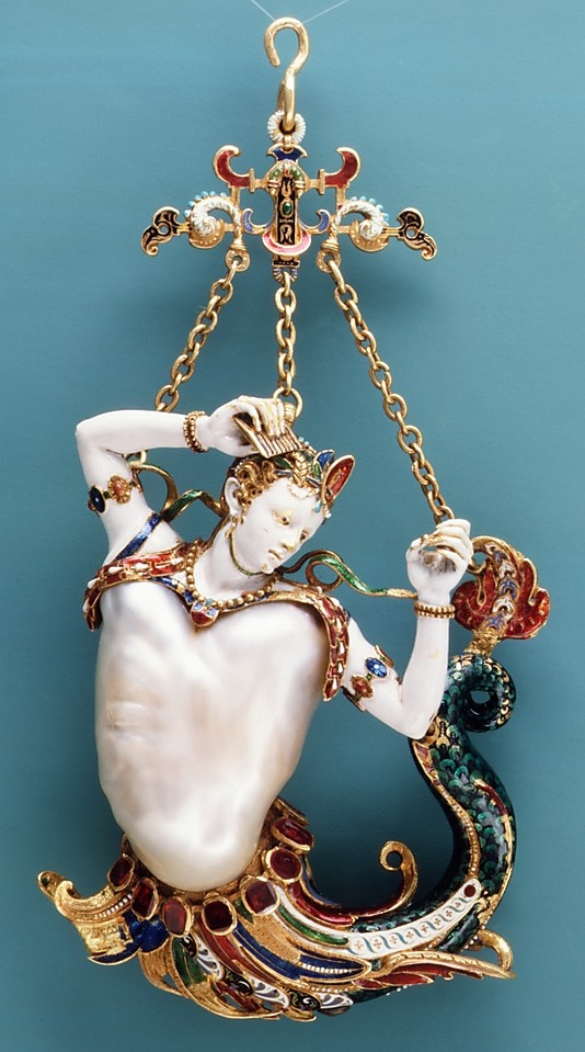 Pendant in the form of a siren  Date: probably about 1860   Culture: European   Medium: Baroque pearl with enameled gold mounts set with rubies