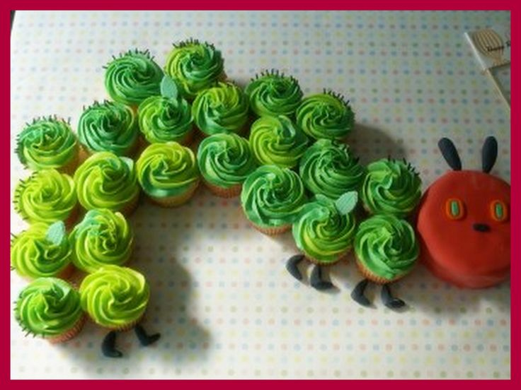 Caterpillar cupcakes!: Hungrycaterpillar, Idea, Kids Birthday, Birthday Parties, First Birthday, 1St Birthday Cakes, Caterpillar Cupcakes, Hungry Caterpillar, Cupcakes Cakes