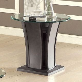 Furniture of America Adrian Grey Beveled Glass Top End Table | Overstock.com Shopping - The Best Deals on Coffee, Sofa & End Tables