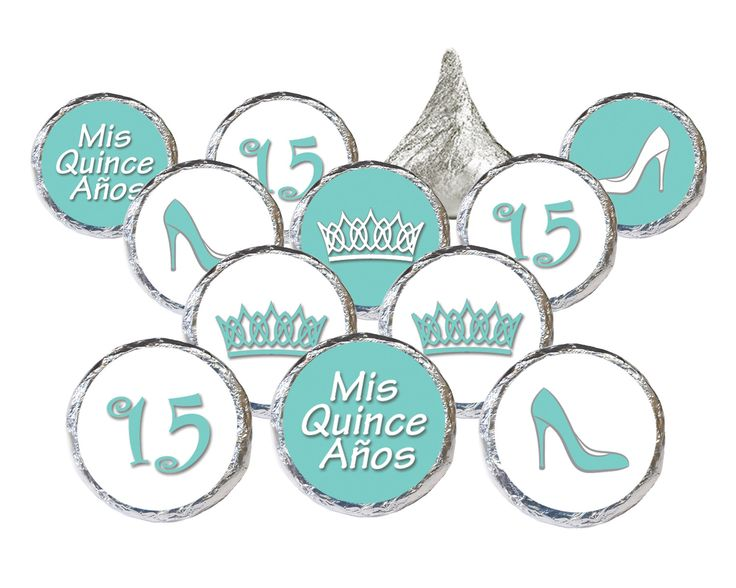 Robin's Egg Blue Quinceanera Sticker Decorations for Hershey Kisses - Set of 324