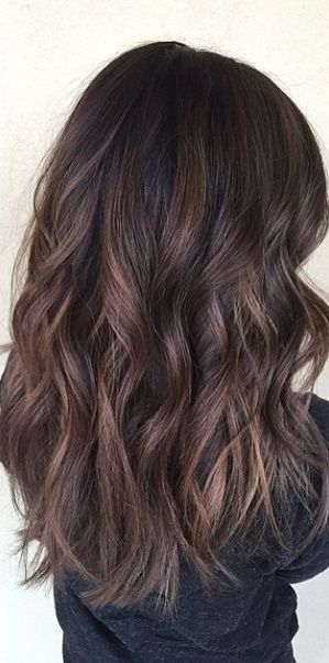 dark brunette balayage highlights..even though I have short hair I am going for this colour.