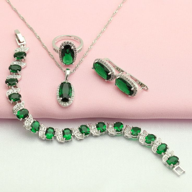 ASHLEY Green Stones Silver Plated Jewelry Sets For Women Halloween Gift Hoop Earrings Bracelet Necklace Pendant Ring Free Box