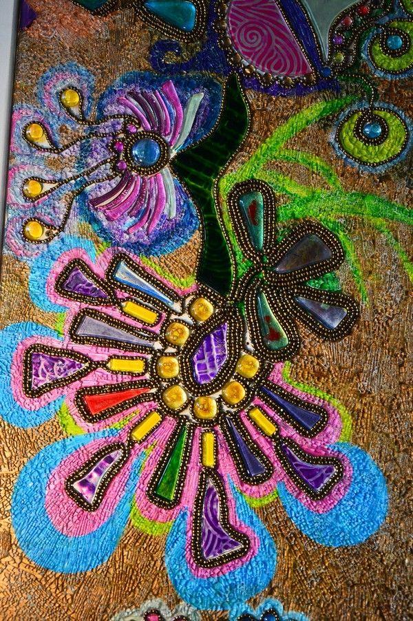 Flower - glass mosaic and pearls www.ayaglass.hu