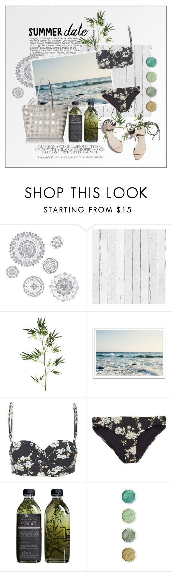 """summer date: the beach"" by fernweeh on Polyvore featuring moda, WallPops, NLXL, Pier 1 Imports, 3.1 Phillip Lim, Billabong, AMBRE, Terre Mère, Loeffler Randall i Summer"