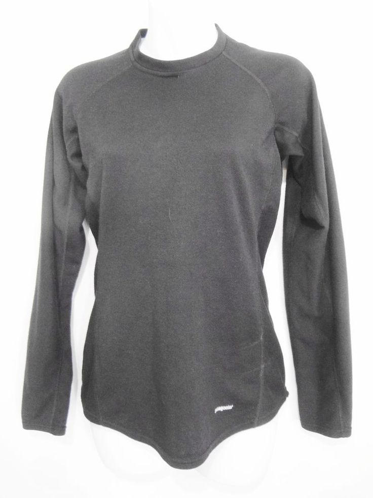 Patagonia Womens S Capilene Black Long-Sleeve Pullover Base Layer Made in Mexico #Patagonia #BaseLayers