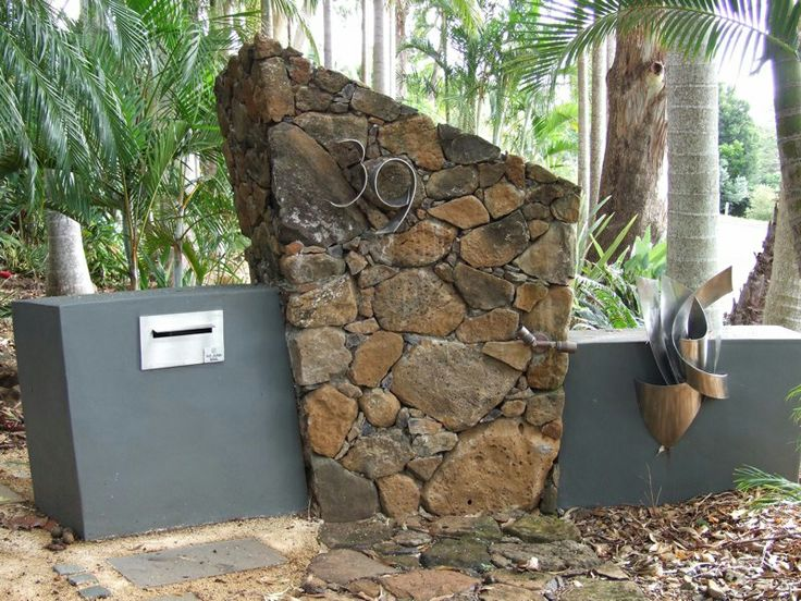 Feature Letter Box Design With Stone Wall And Concrete