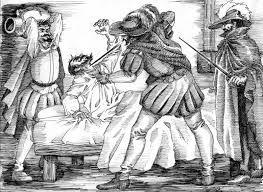 259 – (1541 – 26 de Junio) Pizarro peleó diestramente mientras uno a uno caían sus defensores, hasta quedarse sólo en la lucha, luego fue masacrado por muchas estocadas, en sus últimos instantes, en el piso, Pizarro hizo dramáticamente la señal de la cruz con su sangre, momentos después un jarrón le rompía la cabeza al tiempo que más espadas se hundían en su cuerpo.