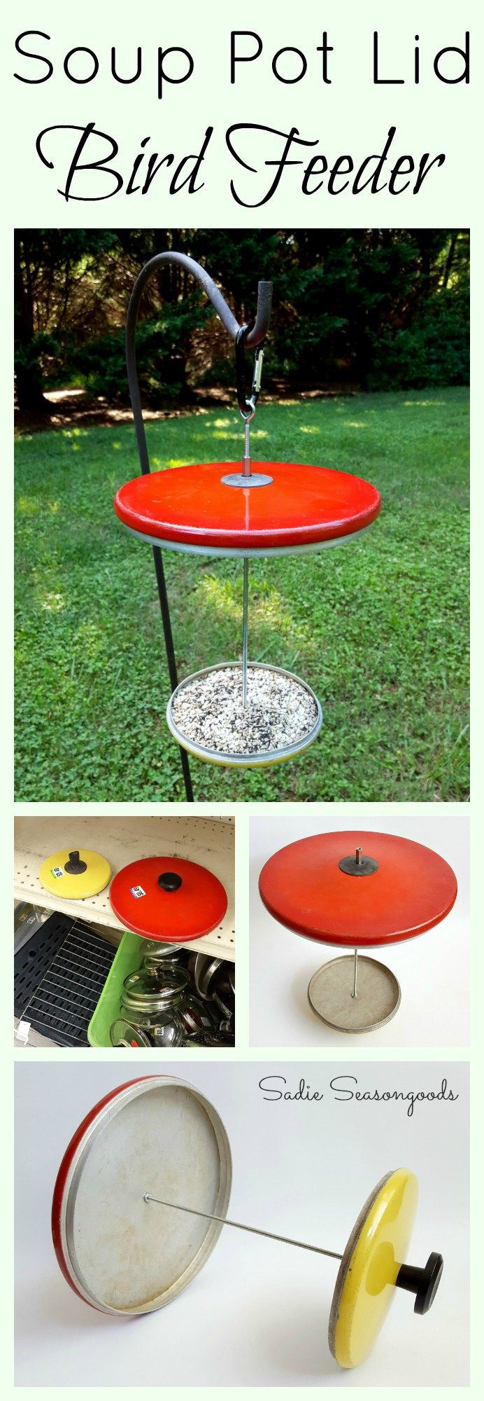 Repurposing thrift store pot lids into a bird feeder by Sadie Seasongoods / www.sadieseasongoods.com