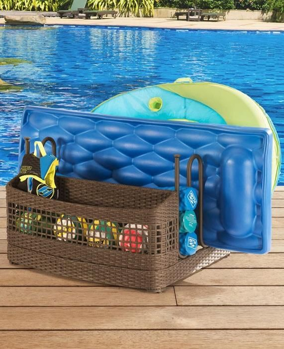 This Pool Float Storage Stand offers storage room for up to 5 pool floats, as well as one basket for additional storage to keep your pool area organized and free of clutter.