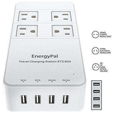 EnergyPal Travel Charging Station ETCS04 / International Travel Adapter / Surge Protector / Power Strip With USB / Power Adapter