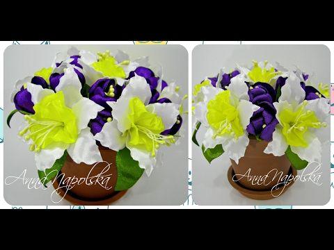Весняний букет у горщику канзаши. Весенний букет в горшочке своими руками. Spring bouquet - YouTube