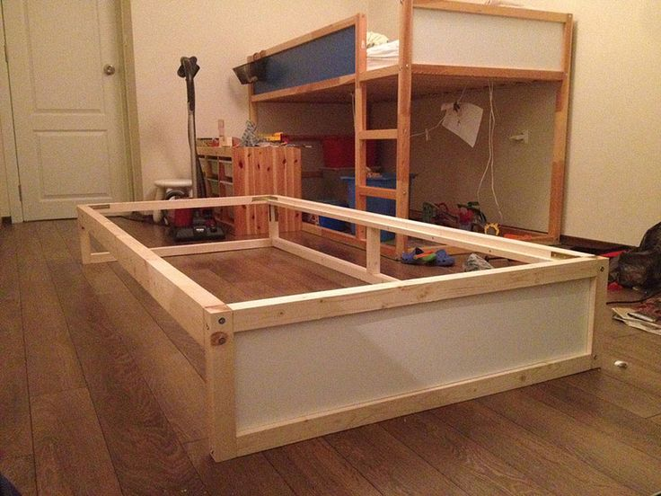 i hacked an extra bunk under the ikea kura double bunk bed you can hide another mattress. Black Bedroom Furniture Sets. Home Design Ideas