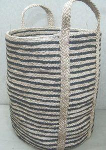 Tall Jute Basket - Striped