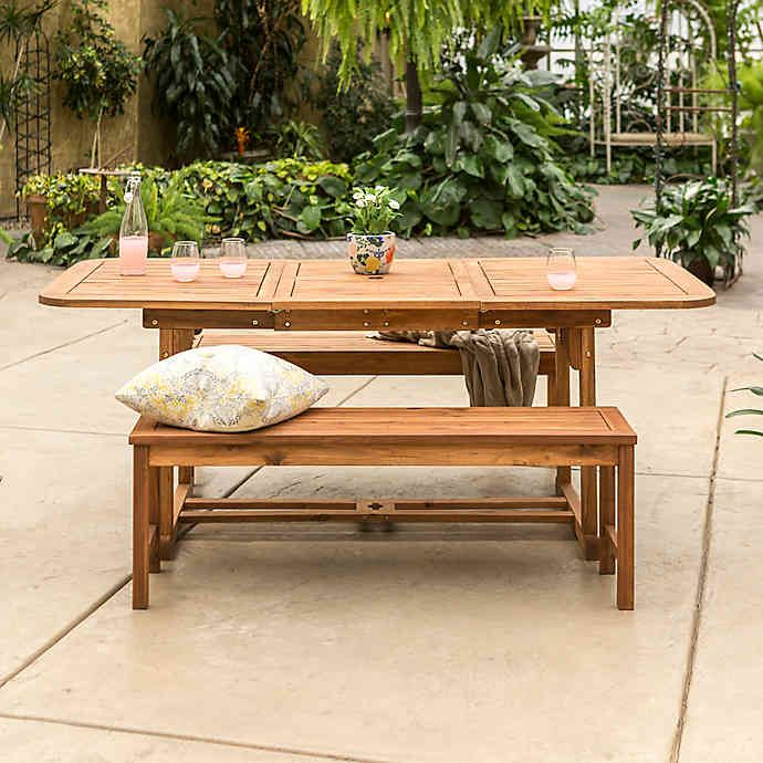 Forest Gate Eagleton 3 Piece Acacia Outdoor Picnic Set Bed Bath Beyond Outdoor Dining Set Patio Dining Set Outdoor Wood Furniture