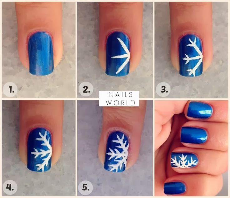 Cute DIY snowflake nail design.