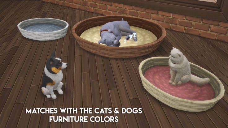 Chippedsims wicker pet bed ts4_bb ts4_bb_pet dog