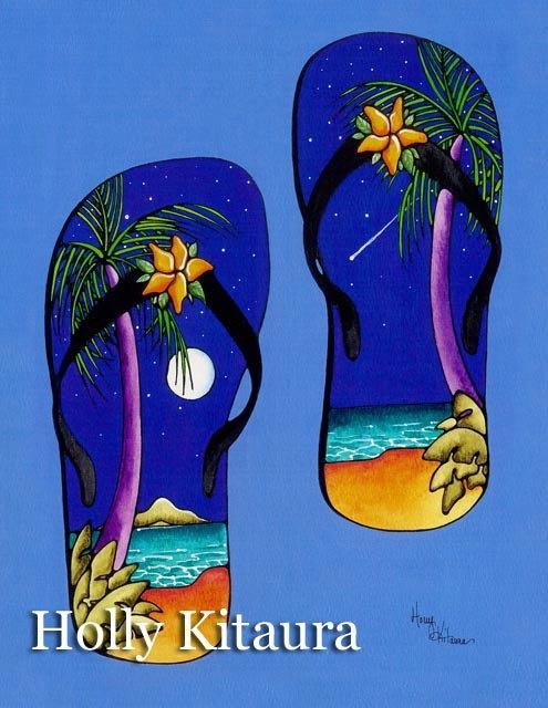 Full Moon Tropical Hawaiian Flip Flops. $24.00, via Etsy.