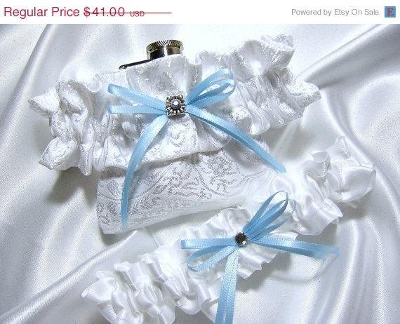 Flask Garter  White Bridal Satin Flask Garter by YouNiqueGarters, $34.85