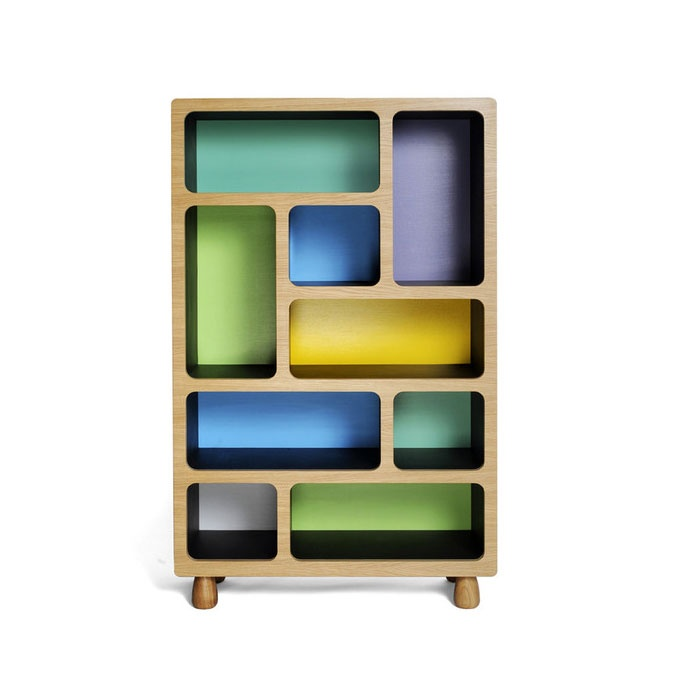 Boulder Display Units. Made from Oak veneered birch plywood, black Valchromat and turned oak legs. By Coucou Manou