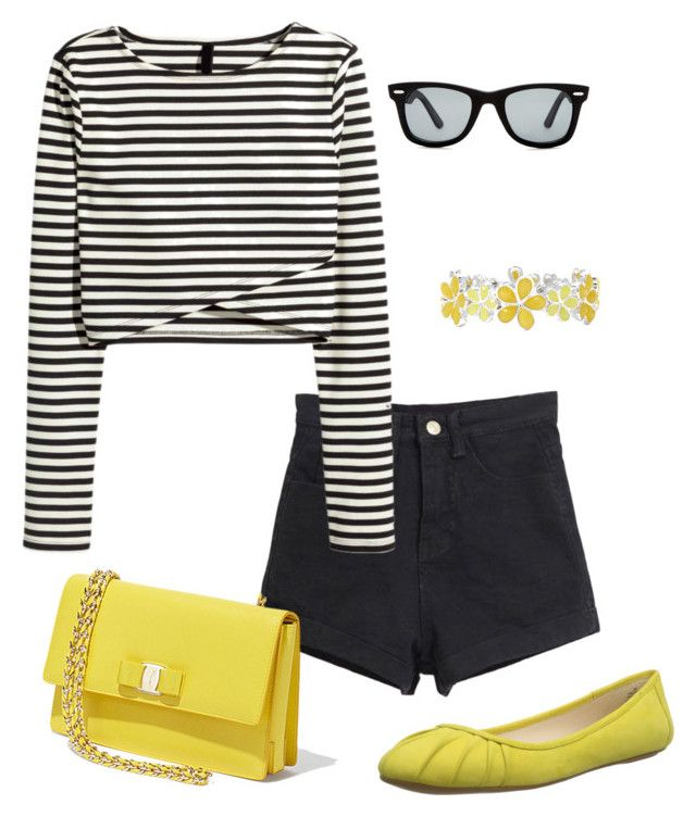 Yellow is for bravehearts by rainbowfra on Polyvore featuring polyvore fashion style Nine West Salvatore Ferragamo Liz Claiborne Versace 19•69 clothing