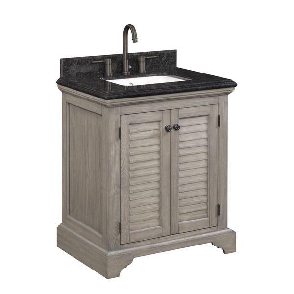 key west freestanding undermount single integrated sink bathroom vanity with granite top and reversible flat panel louvered doors weathered oak