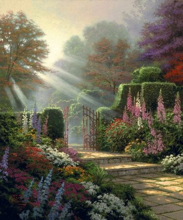 Garden of Grace ~ Thomas Kinkade                              …                                                                                                                                                                                 Más