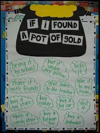 If I found a pot of gold...bulletin board and writing prompt