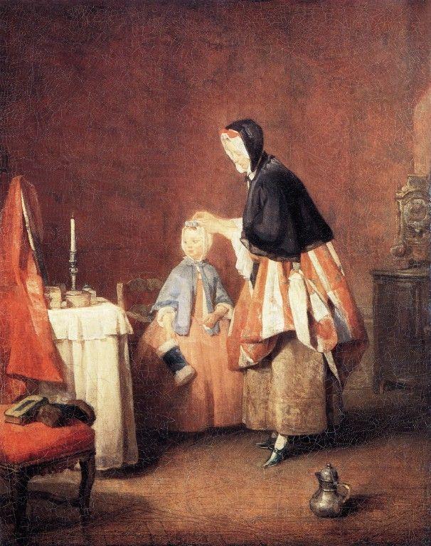 "Jean-Baptiste-Simeon Chardin (Jean Baptiste Simeon Chardin) (1699-1779)  The Dressing Table  Oil on canvas  1741  39 x 49 cm  (15.35"" x 19.29"")  National Museum (Stockholm, Sweden)"