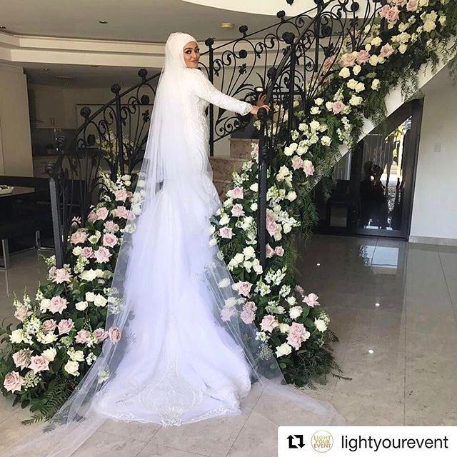 • A M A N I • #Breathtaking 😍 #HijabsByZazz . . . #Repost @lightyourevent ・・・ Floral Staircase 💕 Cinema @nyc_films  Gown @ikeu_couture  MUA @zenabechara_hairmua  Floral @stemsbyabby  Photographer: @yazzenphotography #entertainment @cdarzentertainment  Hijab Stylist @hijabsbyzazz