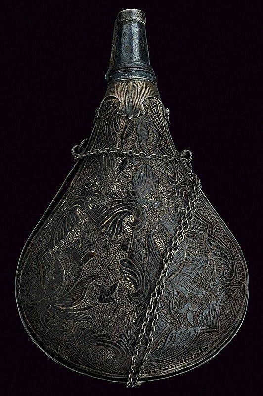 A rare powder-flask, Italy, 18th century.