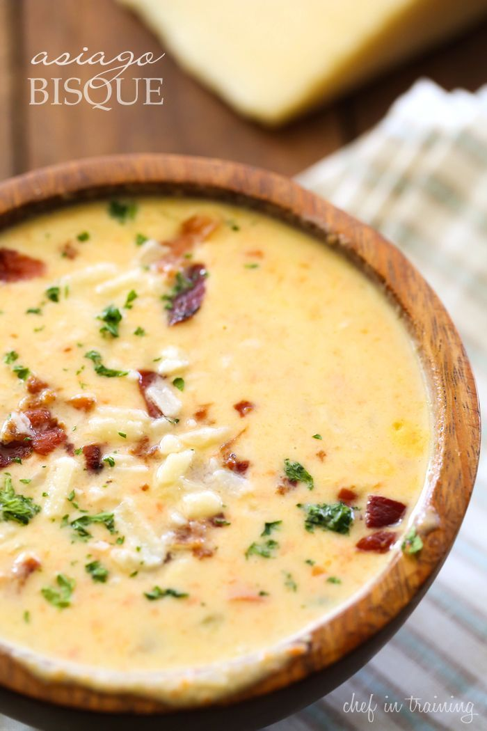 Asiago Bisque - This soup is unbelievably delicious! It is so flavorful, delicious and unique! It will quickly become a new favorite!