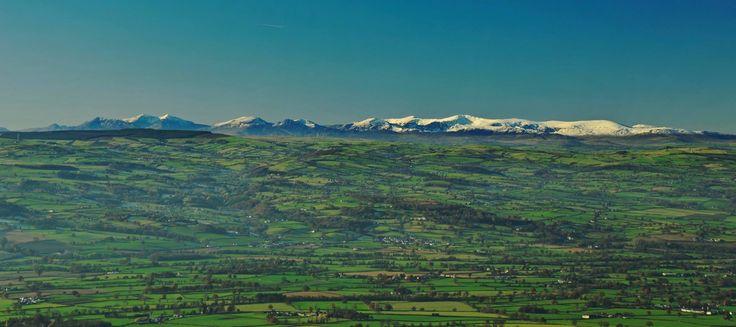 Snowdonia from Moel Fammau looking across the Vale of Clwyd