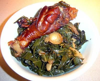 Southern-Style Crock Pot Greens from Food.com: You can vary the greens in this- mustard greens or kale are good choices as well.