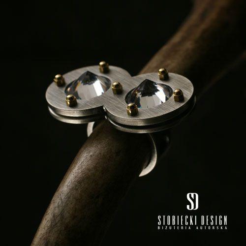 DOUBLE MAGNIFYING GLASS - pierścionek srebrny z białymi cyrkoniami Biżuteria Pierścionki stobieckidesign