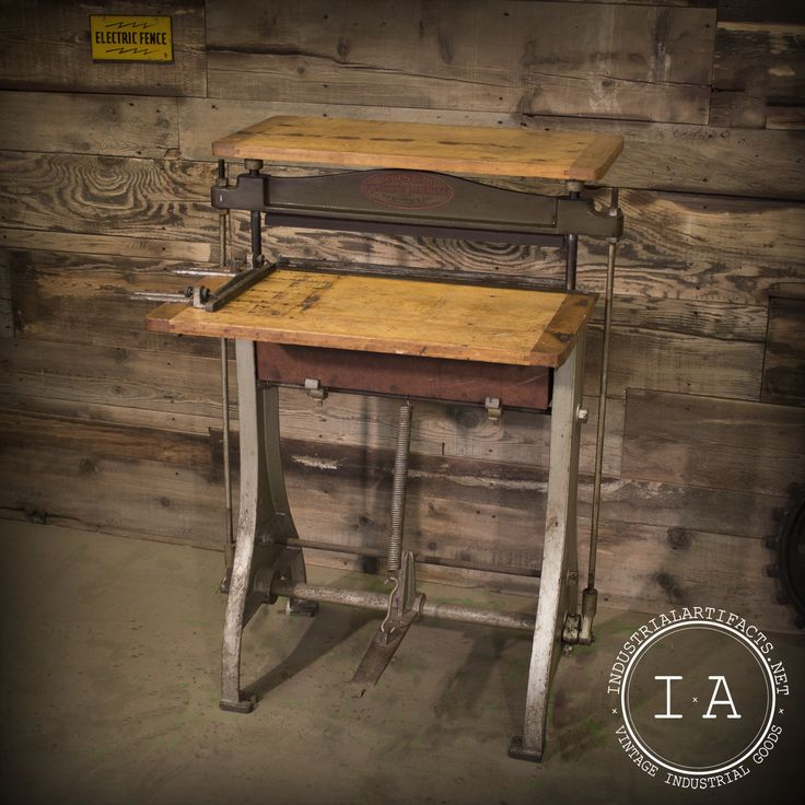 Vintage Industrial Rosco Punching Machine Stand Up Laptop Computer Desk Printing Table Stand Bar