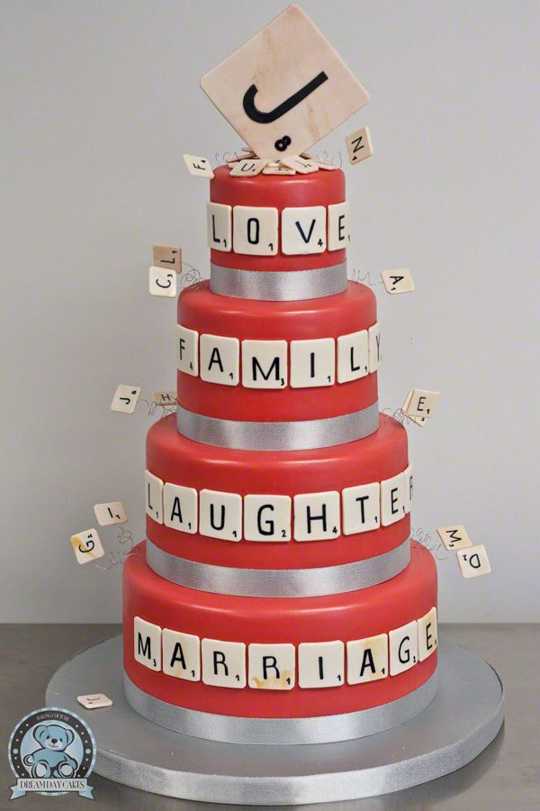 Scrabble Dream Day Wedding Cake...not sure about it for wedding cake but would be cute in a small version for a couples wedding shower!