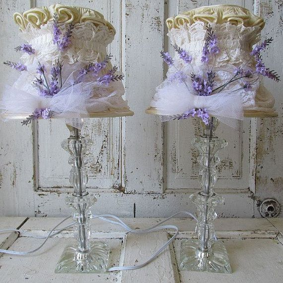Crystal Table Lamps Set French Nordic Inspired Lampshades Vintage Lace W Lavender Flowers Lighting Lamp Antique Lamp Shades Pink Lamp Shade Pendant Lamp Shade