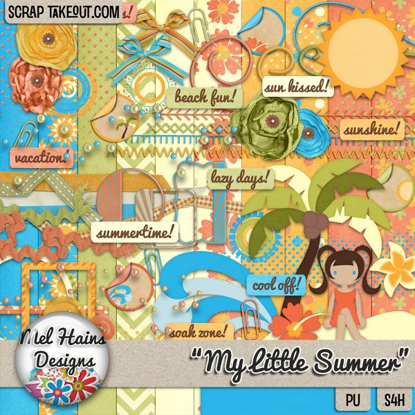 """""""My Little Summer"""" kit avail @ www.scraptakeout.com/melhains or www.mymemories.com"""