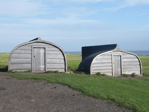 These boats are on Lindisfarne (Holy Island), the fishermen have a great way to recycle their old boats by turning them upside down and crea...