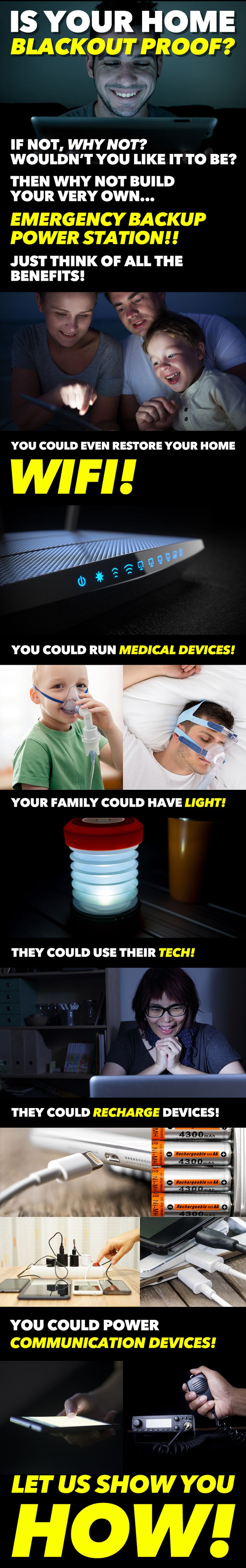 Learn how to make your home & family completely BLACKOUT PROOF!! Never let power outages or the aging grid ever disrupt your life ever again!! Disaster Emergency Preparedness Power Outage Prepper Light Off Grid Power Survival Natural Disaster Battery Bank Electrical Backup Wifi Home Family 72 Hour Kit Bug Out Bag Solar Panel Energy Power Outage