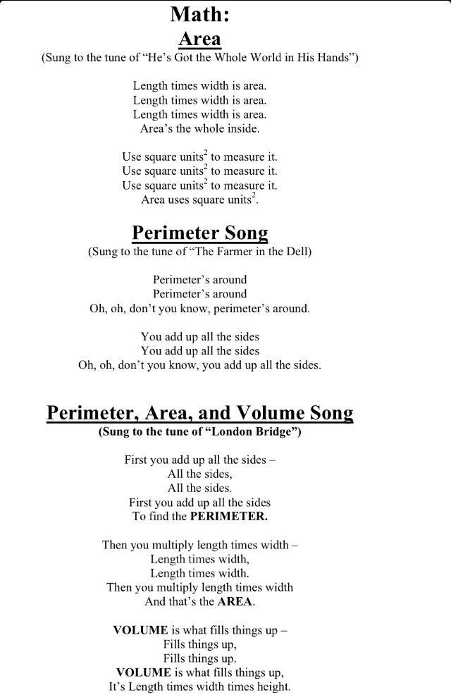 Area, perimeter, volume songs