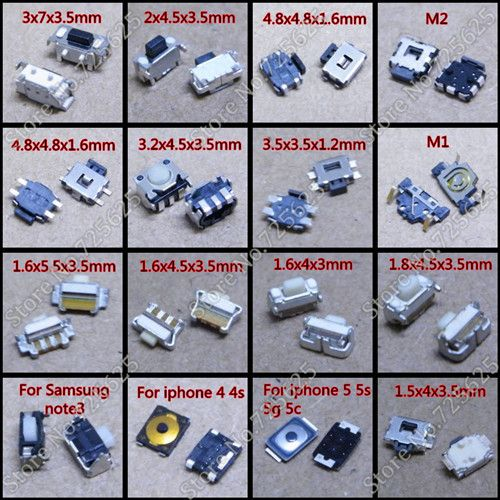 16 models 80pcs Mobile phone Switch For Apple iphone Coolpad Samsung HTC Nokia Milet  lenovo huawei oppo Smartphone power switch