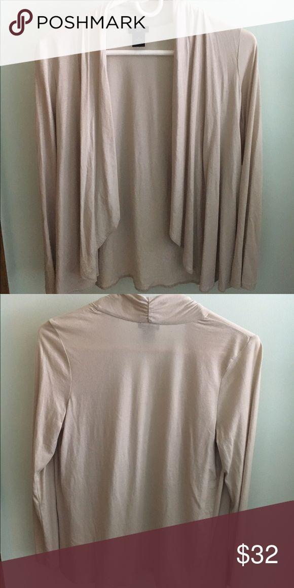 Ann Taylor Nude Cardigan Like new, medium petite nude cardigan with full length sleeves. Ann Taylor Sweaters Cardigans