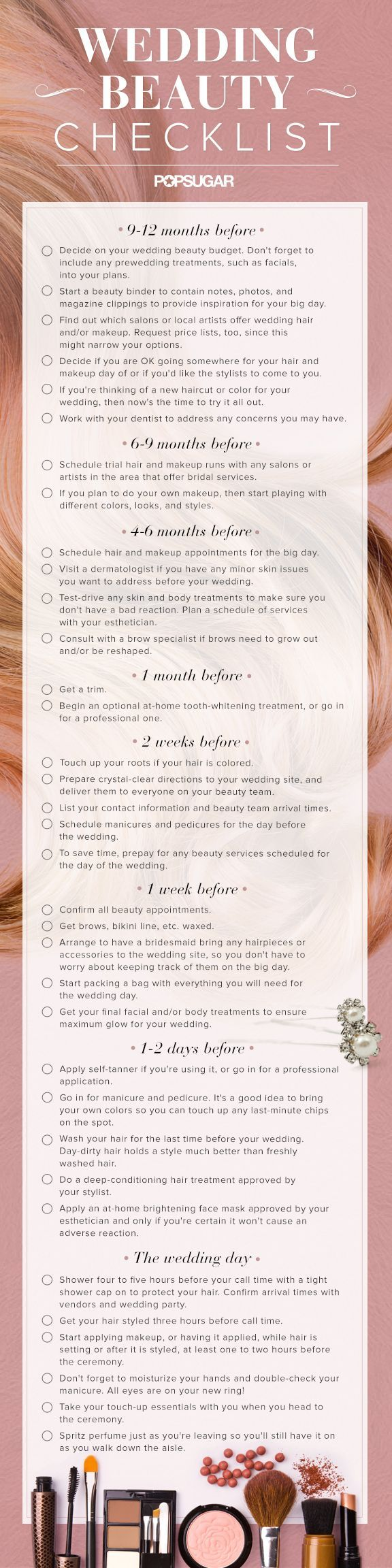 I love this awesome wedding beauty checklist for brides! Perfect for bride's family and friends too!