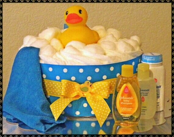 Diaper Cake. Cute Bath Idea. Don't forget rubber duck personalized napkins to…