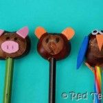 Love Chestnuts? Your kids collect them by the bag full? Here is an idea of what to make with them: Chestnut Pencil Toppers! Too cute!