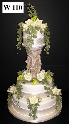 Carlos Bakery - Floral Wedding Cake Designs...Tuscan Themed Cake with Beautiful Ivory Roses and Grapes and Ivy Vines