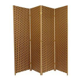 Oriental Furniture 4-Panel Brown Wood And Rattan Folding Indoor Privac
