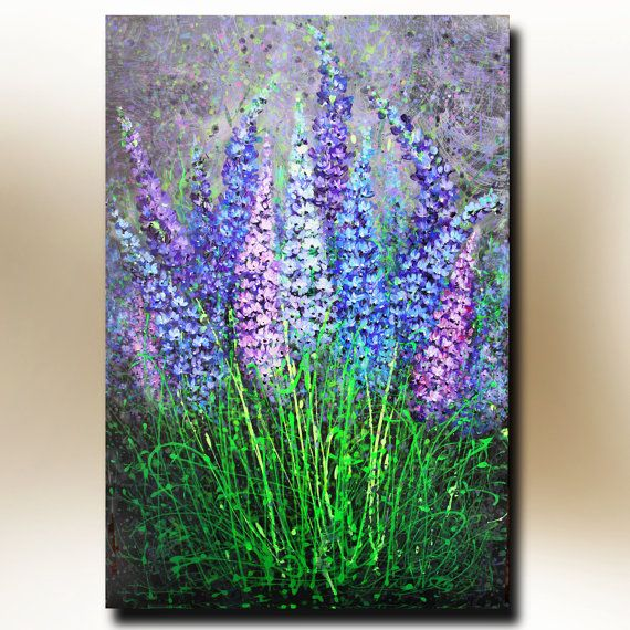 ORIGINAL Acrylic PAINTING on Canvas Summer Garden